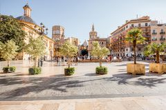 Valencia city in Spain. View in the Virgen square with cathedral in the centre of Valencia city during the sunny day in Spain Royalty Free Stock Images