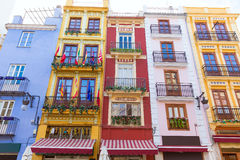 Valencia colorful facades in front Mercado Central Royalty Free Stock Photography