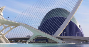 Valencia day light agora bridge and aquarium view 4k spain. Europe stock footage
