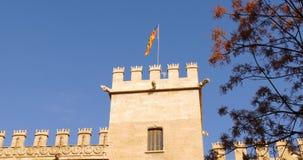 Valencia day light silk exchange flag top 4k spain stock video footage