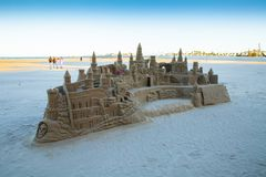 Sand castle on valencia beach in winter at sunset stock photos