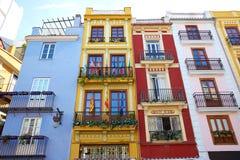 Valencia downtown facades near Mercado central Stock Photo