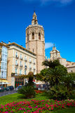 Valencia El Miguelete Micalet in Reina square and Cathedral Stock Image
