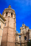 Valencia El Miguelete Micalet in Reina square and Cathedral Royalty Free Stock Image