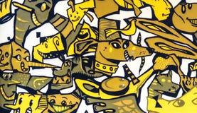 Valencia, España - enero de 2019: Pintada original colorida en la pared de un edificio, dibujo de la calle, gran fondo en un públ fotografía de archivo libre de regalías