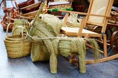 Valencia esparto alfa handcraft baskets and horse Royalty Free Stock Photos