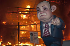 Valencia Fallas, burning huge figures. Royalty Free Stock Photography