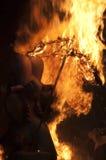 Valencia Fallas, figuras enormes ardiendo. Imágenes de archivo libres de regalías