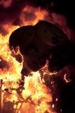 Valencia Fallas, figure enormi brucianti. Fotografia Stock