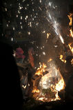 Valencia Fallas, het branden reusachtige cijfers. Royalty-vrije Stock Afbeelding