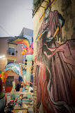 Valencia in Fallas 2015, Les Falles and graffiti. View of Graffiti and Falla in Valencia Royalty Free Stock Photos