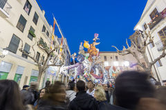Valencia in Fallas 2015, Les Falles. VALENCIA, SPAIN - MARCH 15: Detailed view of El Pilar falla with many tourists in Las Fallas (the fires in Valencian) Stock Photo