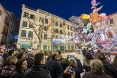 Valencia in Fallas 2015, Les Falles. VALENCIA, SPAIN - MARCH 15: Detailed view of El Pilar falla with many tourists in Las Fallas (the fires in Valencian) Royalty Free Stock Image
