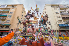 Valencia in Fallas. VALENCIA, SPAIN - MARCH 15: Detailed view of Marco Merenciano - Gayano Lluch falla for Las Fallas (the fires in Valencian) exhibition on Royalty Free Stock Image