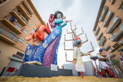 Valencia in Fallas. VALENCIA, SPAIN - MARCH 15: Detailed view of Pedro Cabanes - Juan XXIII falla for Las Fallas (the fires in Valencian) exhibition on march 15 Royalty Free Stock Photography