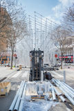 Valencia in Fallas. VALENCIA, SPAIN - MARCH 15: Many workers assemble Nou Campanar falla for Las Fallas (the fires in Valencian) exhibition on march 15, 2015 in Royalty Free Stock Photo
