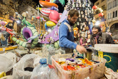 Valencia in Fallas 2015, working for Les Falles. VALENCIA, SPAIN - MARCH 15: Many workers finalize the preparation of Plaza del mercado falla for Las Fallas (the Royalty Free Stock Image