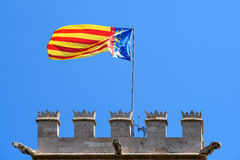 Valencia Flag On Tower. Valencia Flag On Old Tower Stock Image