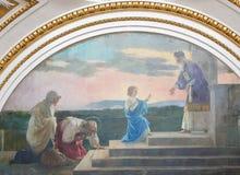 Valencia - fresco de Jesús como niño en el templo en Jerusalén imagen de archivo libre de regalías
