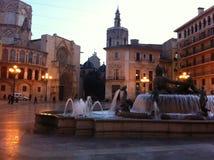 Valencia, geboortestad Plaza DE La Virgen stock afbeeldingen