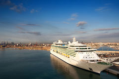 Valencia harbor. Cruise ship - Industrial terminal Royalty Free Stock Images