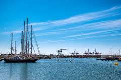 Valencia harbor. Valencia Marina is located a twenty minute journey & x28;by bus or metro& x29; from Valencia& x27;s city centre - the old town. It is an Royalty Free Stock Image
