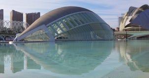 Valencia hemesferic planetarium eye of knowledge day panorama 4k spain stock footage