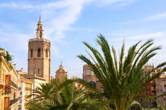 Valencia historic downtown El Miguelete and Cathedral Royalty Free Stock Photo