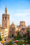 Valencia historic downtown El Miguelete and Cathedral Stock Photo