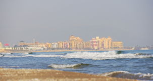 Valencia hotels coast waves 4k spain. Spain valencia hotels coast waves 4k stock video footage