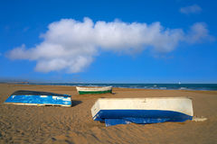 Valencia La Malvarrosa beach arenas Spain. Valencia La Malvarrosa beach arenas beached boats in Spain Stock Photos