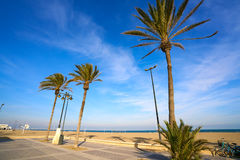 Valencia La Malvarrosa beach arenas Spain. Valencia La Malvarrosa beach arenas palm trees in Spain Stock Images
