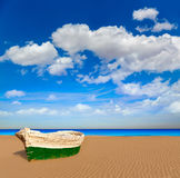 Valencia La Malvarrosa beach boats stranded. In Mediterranean Spain Stock Photo