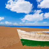 Valencia La Malvarrosa beach boats stranded. In Mediterranean Spain Royalty Free Stock Photo