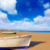 Valencia La Malvarrosa beach boats stranded Royalty Free Stock Image
