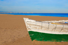 Valencia La Malvarrosa beach boats stranded. In Mediterranean Spain Stock Images