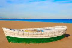 Valencia La Malvarrosa beach boats stranded. In Mediterranean Spain Stock Photos