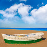 Valencia La Malvarrosa beach boats stranded. In Mediterranean Spain Stock Photography