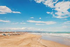 Valencia La Malvarrosa beach. Valencia Playa de la Malvarrosa Playa las Arenas beach in Spain Stock Photography