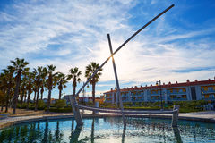 Valencia La Malvarrosa boat statue fountain. At Spain Stock Photography
