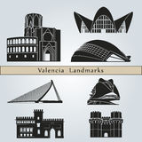 Valencia Landmarks. And monuments  on blue background in editable vector file Royalty Free Stock Photography