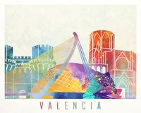 Valencia landmarks watercolor poster. Colorful Royalty Free Stock Photo