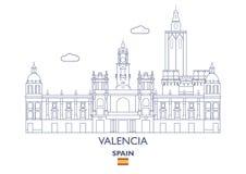 Valencia City Skyline, Spain. Valencia Linear City Skyline, Spain Stock Photo