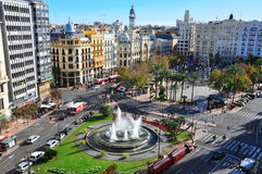 Valencia main square. Aerial view. Spain Stock Images