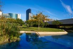 Valencia modern stadhorisont från parkera arkivbilder