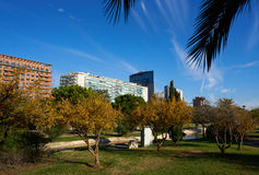 Valencia modern town skyline from the park Stock Photography