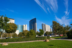 Valencia modern town skyline from the park Stock Images