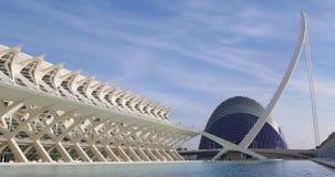 Valencia museum of science agora bridge aquarium 4k day light spain stock video