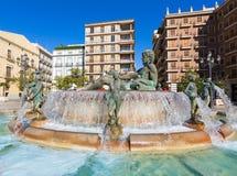 Valencia Neptuno-fontein in Plein DE La virgen Stock Foto's