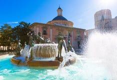 Valencia Neptuno-fontein in Plein DE La virgen Royalty-vrije Stock Foto's